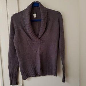 J Crew gray wool mohair shawl collar sweater XS